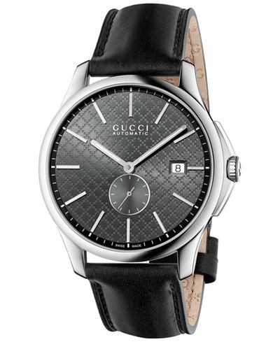 ac0ab7117b6 Gucci Men  39 s Swiss Automatic G-Timeless Black Leather Strap Watch 40mm
