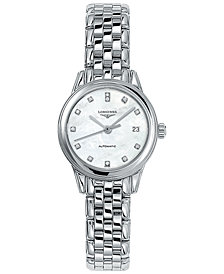 Longines Women's Swiss Automatic Flagship Diamond Accent Stainless Steel Bracelet Watch 26mm L42744876
