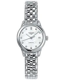 Longines Women's Swiss Automatic Flagship Diamond Accent Stainless Steel Bracelet Watch 26mm L42744876
