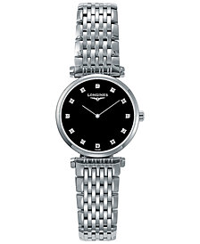Longines Women's Swiss La Grande Classique De Longines Diamond Accent Stainless Steel Bracelet Watch 24mm L42094586