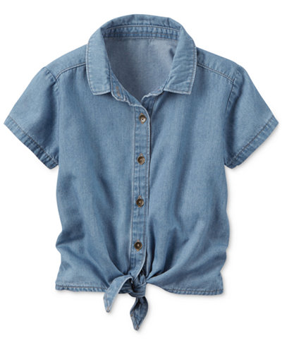 Carter 39 s chambray tie front shirt little girls 2 6x for Chambray shirt for kids