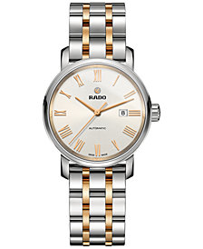Rado Women's Swiss Automatic Diamaster Two-Tone PVD Stainless Steel Bracelet Watch 33mm R14050123