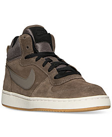 Nike Big Boys'   Court Borough Mid Premium Casual Sneakers from Finish Line