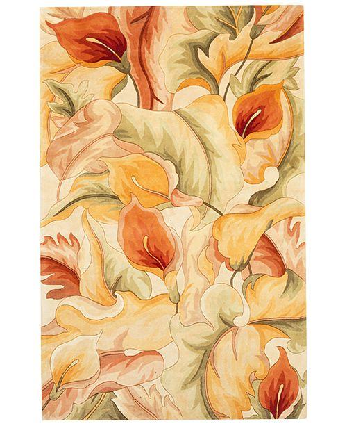 "Kas Catalina 758 Ivory Calla Lilies 5'6"" Round Rug"