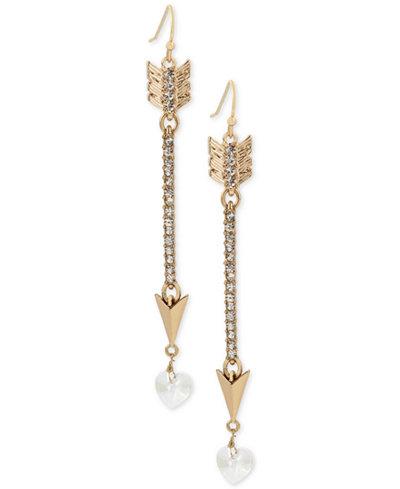 Betsey Johnson Gold-Tone Pav� Arrow and Heart Linear Drop Earrings