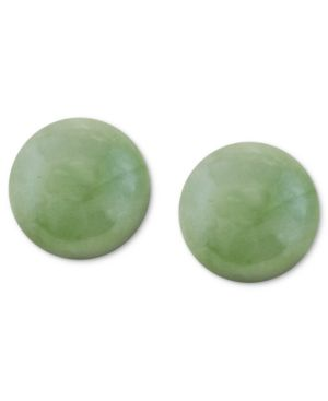 14k Gold Earrings, Jade Studs