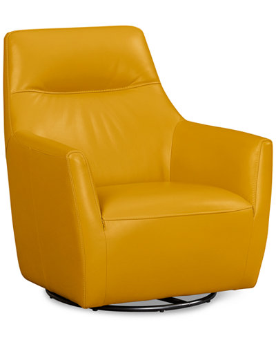 Ticino 31 Quot Leather Swivel Chair Furniture Macy S
