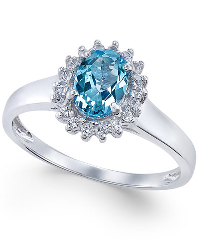 Blue Topaz (3/4 ct. t.w.) and White Topaz (1/6 ct. t.w.) Ring in 10k White Gold