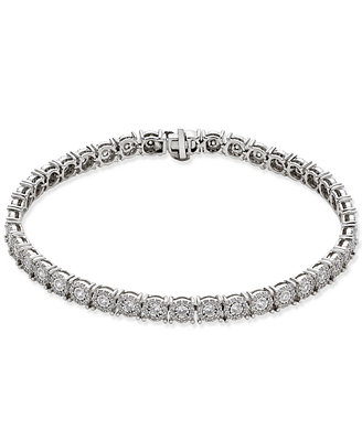 Diamond Halo Tennis Bracelet (2 Ct. T.W.) In 14k White Gold by Macy's