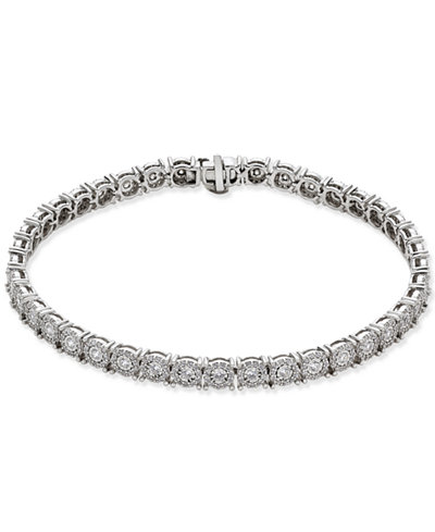 Diamond Halo Tennis Bracelet (2 ct. t.w.) in 14k White Gold