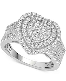 Diamond Heart Ring (1 ct. t.w.) in 14k White or Rose Gold