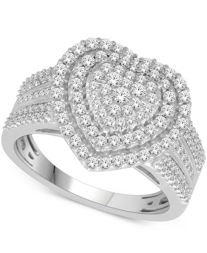 Macy's - Diamond Heart Ring (1 ct. t.w.) in 14k White or Rose Gold