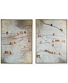 Flock of Birds Handpainted Framed Canvas Wall Art, Set of 2
