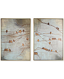Graham & Brown Flock of Birds Handpainted Framed Canvas Wall Art, Set of 2