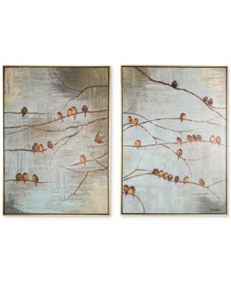 Merveilleux Graham U0026 Brown Flock Of Birds 2 Pc. Handpainted Framed Canvas Wall Art Set