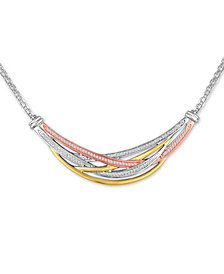 Diamond Tri-Color Weave Collar Necklace (1/4 ct. t.w.)