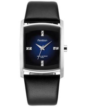 Armitron Men's Crystal Accent Black Leather Strap Watch 32mm 20-4604DBSVBK