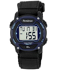 Armitron Women's Digital Black Nylon and Leather Strap Watch 40mm 45-7004BLU