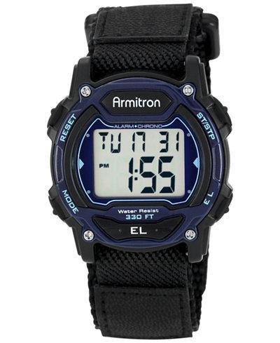 Armitron Women's Digital Black Nylon and Leather Strap Watch 40mm 45-7004BLU