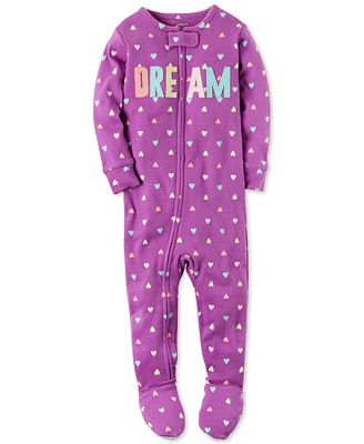 Carter's 1-Pc. Dream Heart-Print Footed Pajamas, Toddler Girls (2T ...