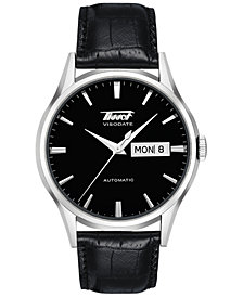 Tissot Men's Swiss Automatic Heritage Visodate Black Leather Strap Watch 40mm T0194301605101