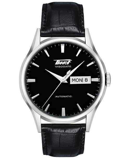 Tissot Men's Swiss Automatic Heritage Visodate Black Leather Strap Watch 40mm T0194301605101