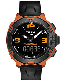Tissot Men's Swiss Analog-Digital T-Race Touch Black Rubber Strap Watch 42mm T0814209705703