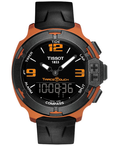 Tissot Men's Swiss Analog-Digital T-Race Touch Black Rubber Strap Watch 42mm T0814209705703