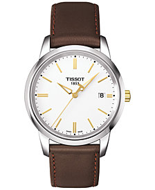 Tissot Men's Swiss T-Classic Dream Brown Leather Strap Watch 38mm T0334102601101