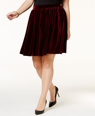Soprano Trendy Plus Size Velvet Skirt