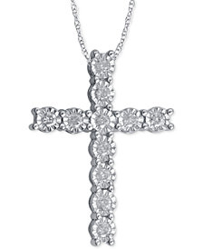 Diamond cross necklace shop diamond cross necklace macys diamond cross pendant necklace 14 ct tw in sterling silver mozeypictures Image collections