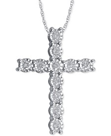 Diamond cross necklace shop diamond cross necklace macys diamond cross pendant necklace 14 ct tw in sterling silver aloadofball Choice Image