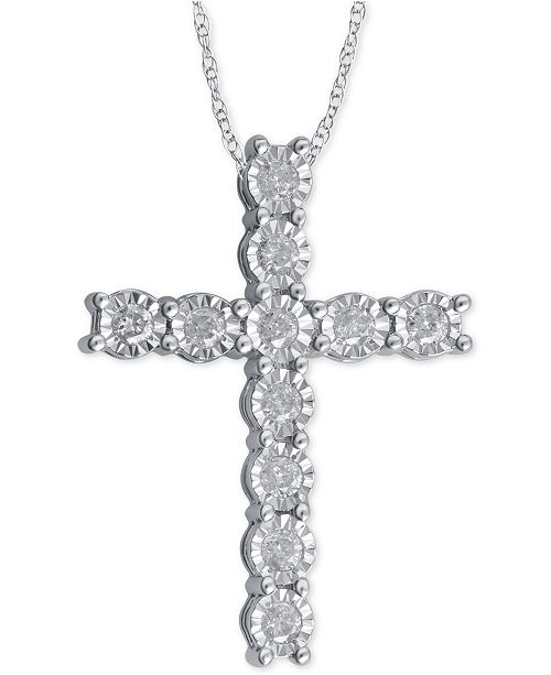 Macy s Diamond Cross Pendant Necklace (1 4 ct. t.w.) in Sterling Silver 1bf021705