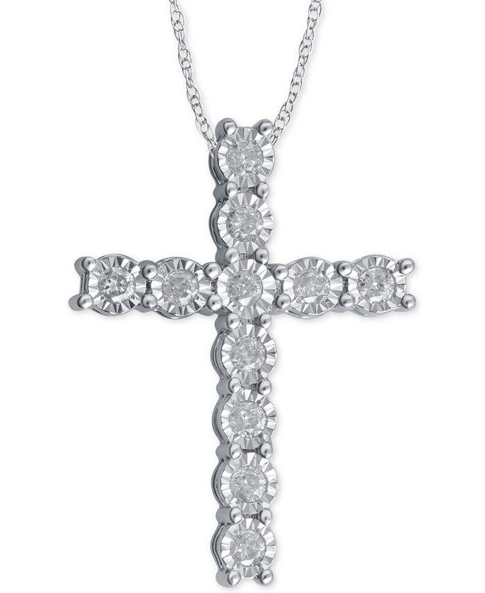 Macy's - Diamond Cross Pendant Necklace (1/4 ct. t.w.) in Sterling Silver