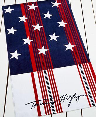 Tommy Hilfiger Striped Flag Beach Towel
