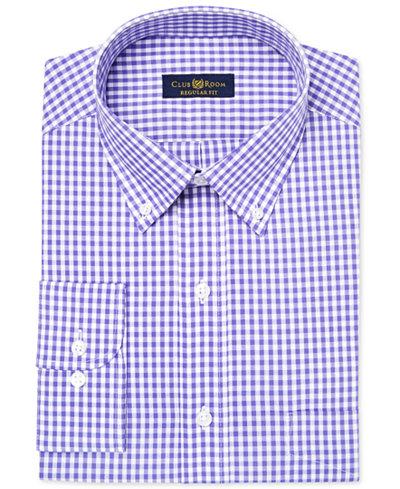 Club room men 39 s classic regular fit purple gingham dress for Mens gingham dress shirt