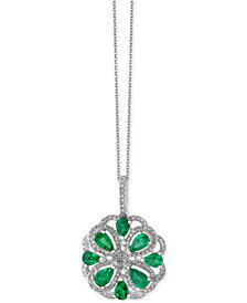 Brasilica by EFFY® Emerald (1-3/8 ct. t.w.) and Diamond (3/8 ct. t.w.) Flower Pendant Necklace in 14k White Gold, Created for Macy's