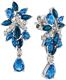 Le Vian Precious Collection® Sapphire (5-1/5 ct. t.w.) and Diamond (3/8 ct. t.w.) Drop Earrings in 14k White Gold, Created for Macy's