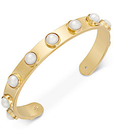 kate spade new york Gold-Tone Imitation Pearl Studded Cuff Bracelet