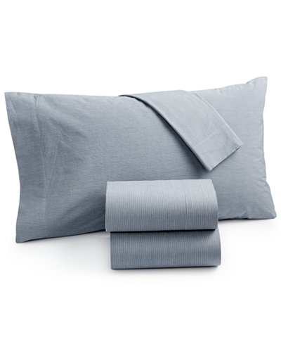 CLOSEOUT! Calvin Klein Washed Essentials Cotton Micro Stripe Queen Sheet Set