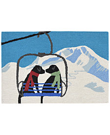 Liora Manne Front Porch Indoor/Outdoor Ski Lift Love Winter 2' x 3' Area Rug