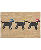 "Liora Manne Front Porch Indoor/Outdoor 3 Dogs Vacation Neutral 2'6"" x 4' Area Rug"