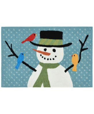 Liora Manne Front Porch Indoor/Outdoor Snowman And Friends Blue 2' x 3' Area Rug