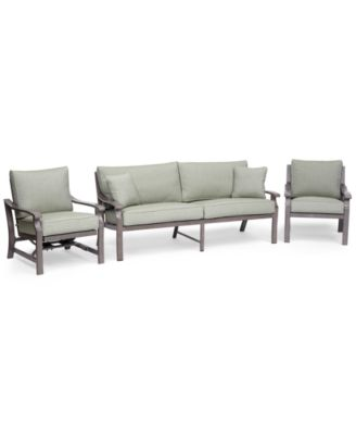 Tara Aluminum Outdoor 3-Pc. Seating Set (1 Sofa, 1 Club Chair & 1 Rocker Chair), Created for Macy's