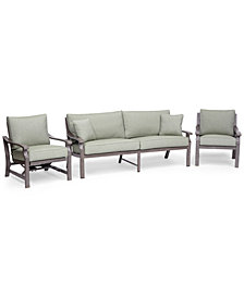 Tara Aluminum Outdoor 3-Pc. Seating Set (1 Sofa, 1 Club Chair & 1 Rocker Chair), Created for Macy's