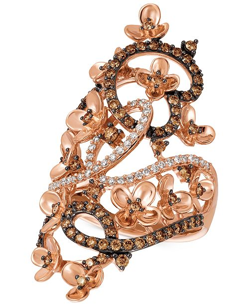 Le Vian Crazy Collection® Diamond Fancy Scroll Floral Ring (1-1/6 ct. t.w.) in 14k Rose Gold