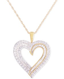 Diamond Heart Pendant Necklace (1 ct. t.w.) in 10k Gold