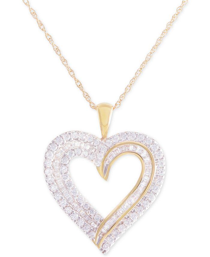 Macy's - Diamond Heart Pendant Necklace (1 ct. t.w.) in 10k Gold