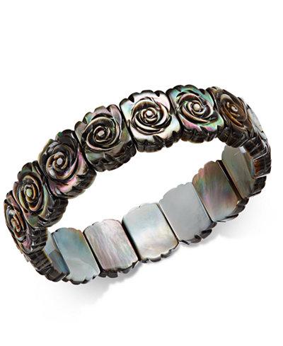 Black Mother-of-Pearl Rose Carved Stretch Bracelet