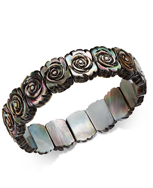 Macy's Black Mother-of-Pearl Rose Carved Stretch Bracelet